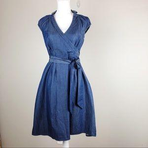 eShaki Denim Blue Faux Wrap Dress sz M/8